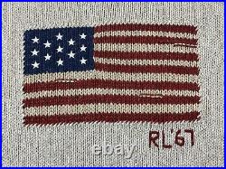 Polo Ralph Lauren RL67 USA American Flag Mock Neck Sweater Beige NWT Womens M
