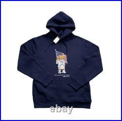 Polo Ralph Lauren USA American Flag Bear Hoodie Sweatshirt Sweater NWT Mens L