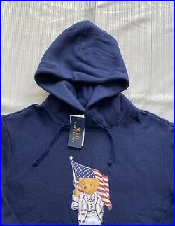 Polo Ralph Lauren USA American Flag Bear Hoodie Sweatshirt Sweater NWT Mens M