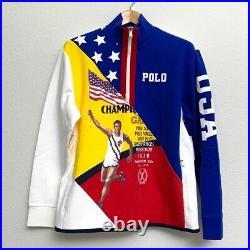Polo Ralph Lauren USA American Flag Champion Chariots Half Zip Sweater Pullover