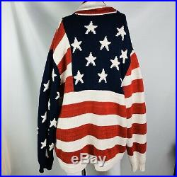Polo Ralph Lauren USA American US Flag Button Down Cardigan Sweater Jacket 2X