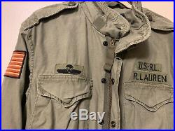 Polo Ralph Lauren USA Flag American Military Field Army Hooded Jacket L