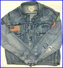 Polo Ralph Lauren USA Flag Sportsman Distress Patchwork Repaired Trucker Jacket
