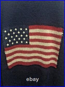 Polo Ralph Lauren Vintage American Flag Navy Sweater Size XL