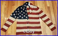 Polo Ralph Lauren Women's USA American Flag Cardigan Sweater Sz XS THESPOT917