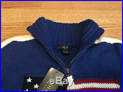 Polo Ralph Lauren boy 1/4 zip USA American flag classic sweater RL 67 mock neck