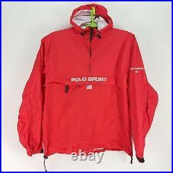 Polo Sport Ralph Lauren Red Hooded Windbreaker USA Jacket Nylon Mens LG 1/2 Zip