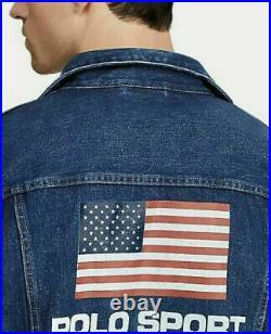 Polo Sport Ralph Lauren USA Flag Denim Jacket Men Size Large Limited Edition New