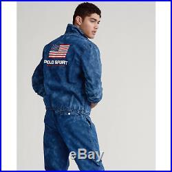 Polo Sport Ralph Lauren Vtg Washed Retro American Flag Windbreaker Dance Jacket