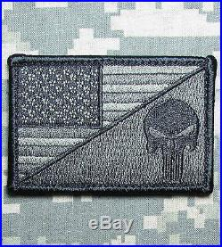 Punisher Skull USA American Flag Army Morale Tactical Acu Dark Velcro Patch