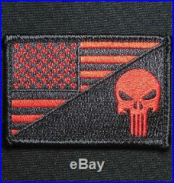 Punisher Skull USA American Flag Army Morale Tactical Black Ops Red Hook Patch