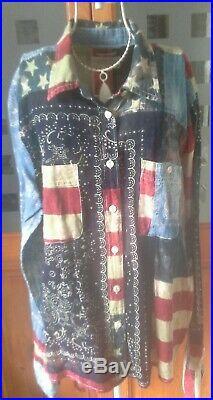 RALPH LAUREN DENIM & SUPPLY Vintage Unusual USA Flag & Floral Shirt XL12/14/16