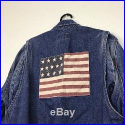 RALPH LAUREN POLO VINTAGE 80s MENS SIZE MEDIUM AMERICAN FLAG DENIM JACKET RARE