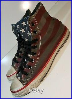 RARE Converse John Varvatos Vintage Distressed American Flag High Tops 9.5 USA