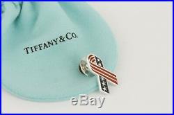 RARE Tiffany & Co. USA Enamel Flag Ribbon Pin American Charm Sterling Silver 925