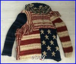RL Denim & Supply USA Flag Patchwork Chunky Knit Fringe Cardigan Size XS/S