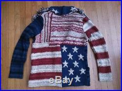 Ralph Lauren Denim & Supply Patchwork Fringed American Us Flag Sweater M/l USA