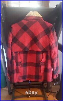 Ralph Lauren Denim Supply Red Buffalo Plaid wool coat jacket shearling sherpa S