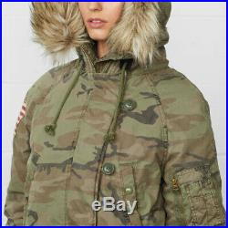 Ralph Lauren Denim Supply Women Military Army Camo USA Flag Snorkel Down Jacket