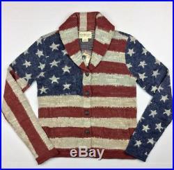 Ralph Lauren Denim Supply Women Military USA American Flag Knit Sweater Cardigan