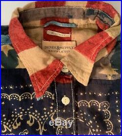 Ralph Lauren Denim & Supply Women's Vintage USA Flag Patriotic Shirt L Large NWT