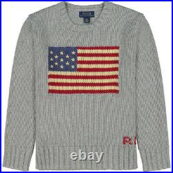 Ralph Lauren Large BOY GIRL Age 14-16 GREY USA AMERICAN FLAG JUMPER NEW w TAGS