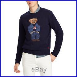 Ralph Lauren Polo 50th Anniversary Wool Denim USA Flag Bear Sweater LARGE