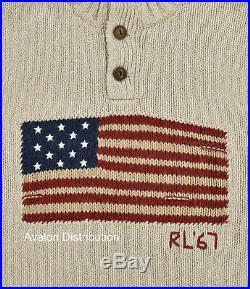 Ralph Lauren Polo Beige Cotton USA American Flag Turtleneck Sweater New