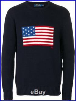 Ralph Lauren Polo Navy Cotton USA American Flag Sweater New