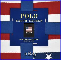 Ralph Lauren Polo Navy USA American Flag 50 x 70 Throw Blanket New