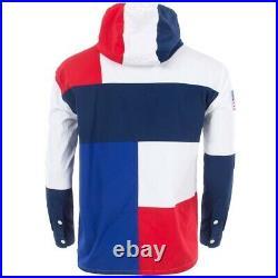 Ralph Lauren Pullover Jacket USA Colour Block Water Repellent Half Button Size L