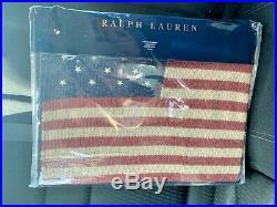 Ralph Lauren Saranac Peak Navy USA Flag 54x72 Throw Blanket NEW