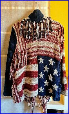 Ralph Lauren Stars & Stripes USA Patchwork American Flag Shawl Cardigan Sweater