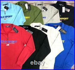 Ralph Lauren Sweatshirt Polo Sport Half Zip American Flag Fleece Logo Jacket