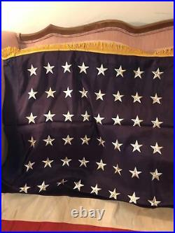 Rare Estate find Vintage 48 Star U. S. American Flag with gold trim 46 by 66