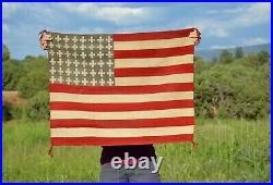 Rare Old Navajo Indian Handwoven Pictorial Rug 48 Star American U. S. Flag