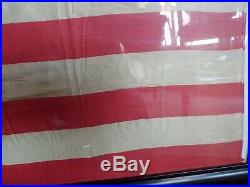 Rare Original Framed 46 Star Us Flag Dancing Stars Silk Antique Historic USA