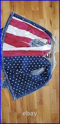 Rare TOMMY HILFIGER Crest Vintage Denim American Flag USA Lined Jean Jacket Sz L