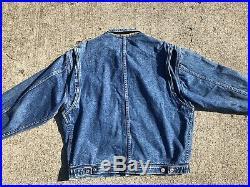 Rare TOMMY HILFIGER Crest Vintage Denim American Flag USA Lined Jean Jacket Sz M