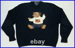 Rare Vintage POLO RALPH LAUREN American USA Flag Sitting Bear Sweater 90s SZ 2XL