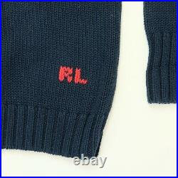 Rare Vintage POLO RALPH LAUREN American USA RL Flag Knit Sweater 90s Navy Blue L