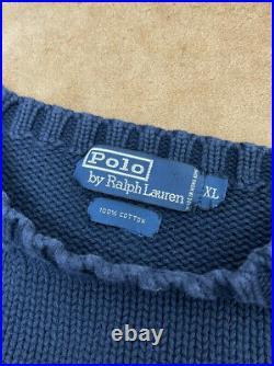 Rare Vintage Polo Ralph Lauren American Flag Cotton Knit Sweater Mens XL