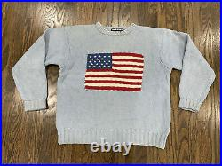 Rare Vintage Polo by Ralph Lauren American Flag Sweater Large Baby Blue