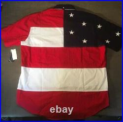Rare Vintage Tommy Hilfiger American Flag Shirt Spellout 90s USA Size Large MAGA
