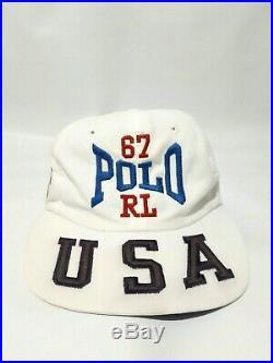 Rare Vtg 90's Polo Sport USA Hat American Flag Spellout Hat Ralph Lauren Cap