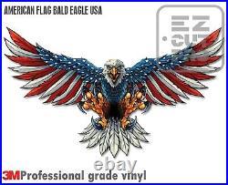 Reflective American Flag Bald Eagle USA Made Decal Sticker 3m Truck Vehicle Car