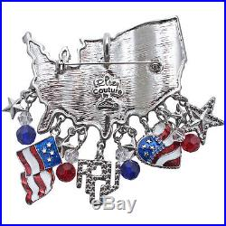 Ritzy Couture USA American Flag July 4 Patriotic Charm Pin/Pendant (Silvertone)