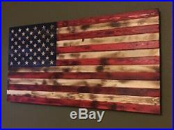 Rustic & Distressed Wooden American Flag Large 37 X 19.5 Handmade To Order USA