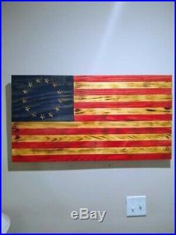 Rustic Wooden American Flag Charred