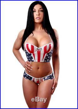 SEXY American Flag Molded Cup Bustier and Star Back Panty Set. Made in USA